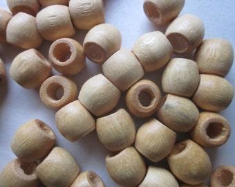 Beige Natural Wood Barrel Beads 11.5x11mm 14 Beads