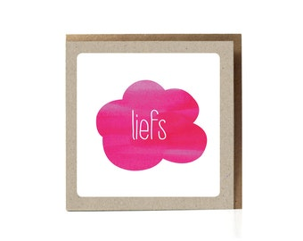 Lots of Love, Liefs Dutch Greeting Card, Also Available in English, Pink Cloud, Valentine, Valentine Cards, Pink Greeting Card, ecofriendly
