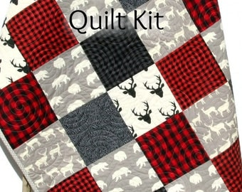 Quilt Kit Buffalo Plaid Rustic Woodland Bedding Crib Blanket Quilting Project Baby Quilt Kit Toddler Kit Patchwork Kit Deer Bear Red Black