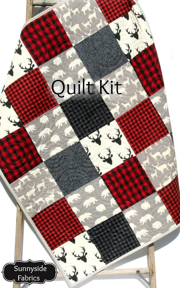 Quilt Kit Buffalo Plaid Rustic Woodland Bedding Crib Blanket