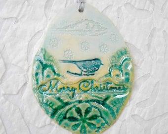 Bird Ornament, Christmas Tree Ornament, Christmas Decoration, Bluebird Ornament, hostess gift, stocking stuffer, porcelain holiday ornament