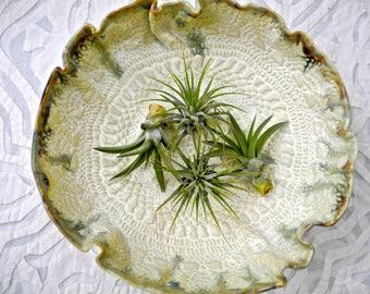 Ceramic Bowl, Creamy lace bowl, serving bowl, lace pottery, textured pottery, salad bowl, prep bowl, pottery bowl, vintage doily bowl
