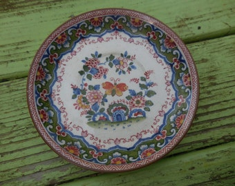 Vintage 1920s to 1940s Tiny Plate/Saucer Blue/Green/Orange/Red Butterfly Small Marked N Decorative