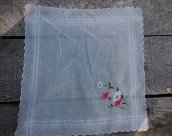 Vintage 1950s to 1960s White Handkerchief Retro Pink and White Embroidered Flowers Green Stems Scalloped Edges Reuse