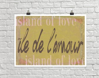 Ile de L'amour Island of Love 18x24 Landscape Art Poster Giclee Typography French Home Lisa Weedn