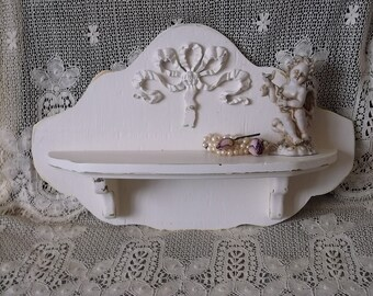 French country Wall shelf, Distressed white, handmade, revived vintage, Ornate