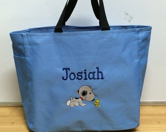 Personalized Crawling Baby Snoopy & Woodstock Tote Diaper Bag