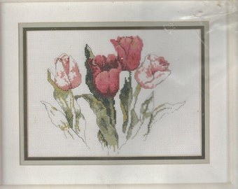 90s Tulips Bucilla Counted Cross Stitch Kit 40256 Original Watercolors by Janet Powers NIP Cross Stitch Kit Floral Cross Stitch