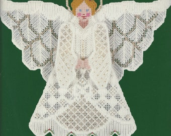 1980s Textured Tree Top Angel Dimensions Plastic Point Kit 9035 Stand Alone or Tree Top Angel Plastic Canvas Kit 9 Inches High