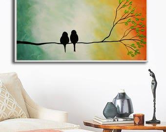 Abstract Birds Giclee, Birds print, colorful print, art print, abstract orange print, love birds print,print on canvas, gold green 2 birds
