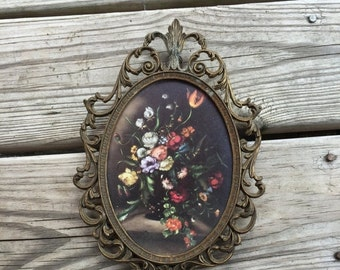 ON SALE Ornate Wall Hanging Italian Floral Wall Hanging Made in Italy Ornate Frame Gothic Picture