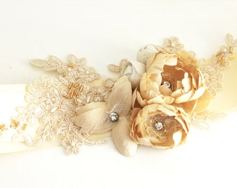 SALE  30% OFF Bridal sash or belt with pure silk dupioni flowers and Allencon corded lace - Champagne and Ivory
