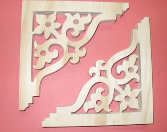 "Two (2)  Victorian Gingerbread Screen Door Trim/ Brackets / Shelf Brackets 6 1/2"" x 6 1/2"" x 3/4"""