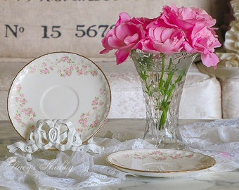 Prettiest POPE GOSSER Pink Roses SAUCERS, Shabby Chic, Gold Trim, Tea Time