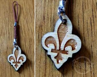 CLEARANCE SALE 50% - Fleur-de-lis mini wooden charm accessory. -- fleur de lis charm, fleur-de-lys mobile charm, fleur de lys phone charm