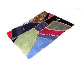 "Crazy Quilt Piece 13 1/2"" x 11"" Hand Sewn Vintage Crazy Quilt Block Salvaged Destash Quilt Material"