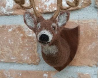 Needle Felted miniature mounted deer head