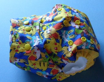 SassyCloth one size pocket diaper with pokemons cotton print. Ready to ship.