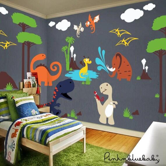 dinosaures stickers salle de jeux murale stickers muraux. Black Bedroom Furniture Sets. Home Design Ideas