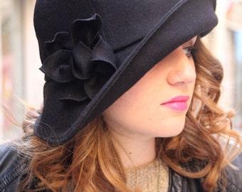 Winter hat, Black fabric cloche hat. Unique angular brim hat. Boiled wool fabric. delisa unique original hat, handmade millinery fabric hat
