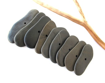 Toggle Stones Beach Stone Beads Mediterranean Drilled Rocks Natural Stone Spacers Diy Jewelry Pebbles Pairs BLACK TOGGLES 40-58 mm
