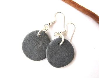Rock Earrings Beach Stone Earrings Natural Sea Stone Earrings Mediterranean Jewelry River Stone Earrings Pebble Earrings Silver MIST