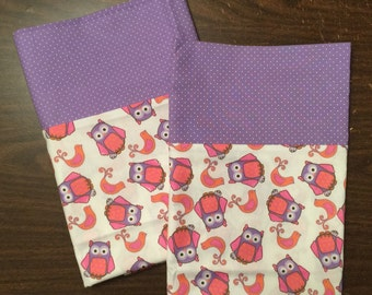 Owl Pillow Case Set in 100% cotton standard or queen available with lavender polka dot cuff