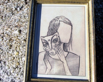 Wearing my mask - Couldn't resist the pull of this piece of framed art