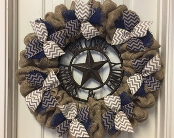 Burlap Wreath Dallas Cowboy Front Door Decor Navy And White Welcome Friends And Family