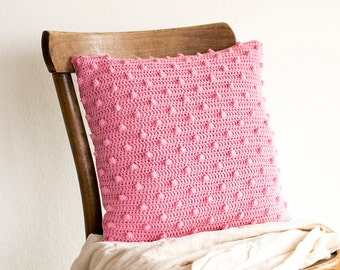 Crochet Pink Pillowcase, 16 x 16 Crochet Cotton Cushion Cover, Decorative Pillow Cover, Crochet Home Decor