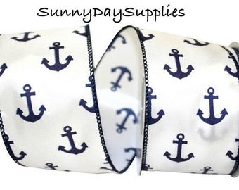 Anchors Wired Ribbon, Anchors Away, White Satin with Blue Anchors, Nautical, Navy, Sailing, Boat Theme,  2 YARDS,  2.5 inches wide