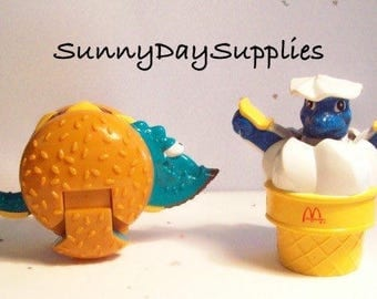 McDonalds Happy Meal food toys, Dinosaur and Robot, Changables and Transformers, Hamburger and Ice cream cone, 1980's food toys for Kids
