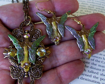 Jewelry Set (S706) Necklace and Earrings, Fairy Pendant, Brass Dangles, Swarovski Crystals, 3D Holographic Green and Gold Enamel