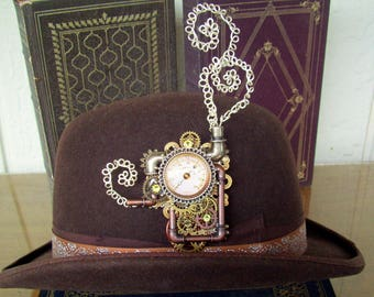Steampunk Hat Pin (P720) Steam Engine Design,  Brooch, Faux Pipeworks, Gears and Gauge, Coiled Wire Smoke, Swarovski Crystals, Tie Tacks