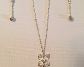 Silver Rhinestone Necklace and Earrings