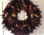 "Winter Feather Wreath with Copper and Gold Ribbons and Brown Sparkle Snowflakes 18"" Ready to Ship"