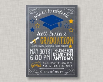 Graduation Invitation, Chalkboard Graduation Invitation, Printable