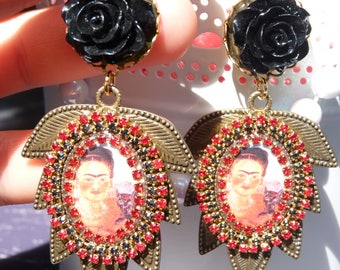 FREE SHIPPING Frida Kahlo Handmade Resin Dangle Earrings - Mexican Folk Art Jewelry - Summer Trends Jewelry - Black & Red - Mother's Day