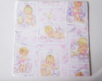 Vintage Wrapping Paper - Sheet Gift Wrap New Baby - Pin Up Baby - Pageant Baby