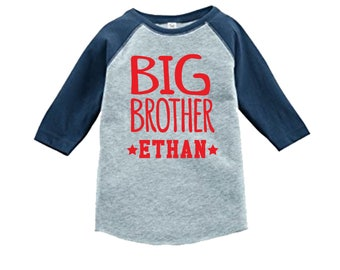 Personalized Big Brother Sports Jersey Shirt-3/4 or long sleeve relaxed fit raglan baseball shirt-Any name - pick your colors!