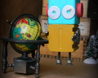 50% OFF - Robot Ornament - I Bot (Turquoise/Yellow) - Upcycled Ornament - Hanging Decor by Jen Hardwick