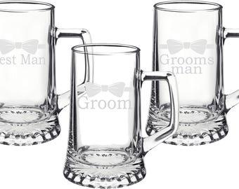 Wedding Party 15oz Glass Beer Stein Groomsmen Gift - Wedding Gift - Boyfriend Gift - Beer Gift - Mens Gift - Husband Gift