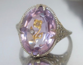 SALE- Antique Art Deco Rose of Sharon Amethyst and Diamond Flower Engagement Ring 14K