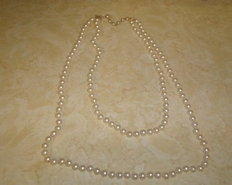 vintage necklace long double strand faux pearls