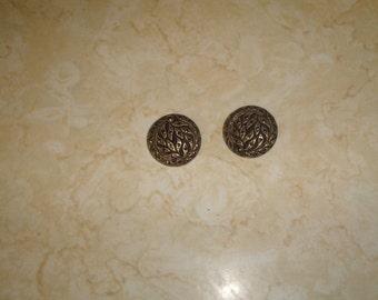 vintage clip on earrings black glass goldtone rhinestones