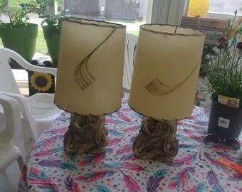 vintage pair mid century lamp lights fiberglass shades atomic