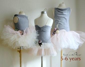 Girls size 5-6 years dusty blue, dusty rose and ivory flower girl dress. Something blue...