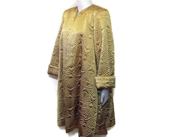 80s Gold Satin Coat Gold Quilted Coat Gold Clutch Coat 1980s Swing Coat Satin Evening Coat Satin Jacket Satin Coat Gold Satin Coat