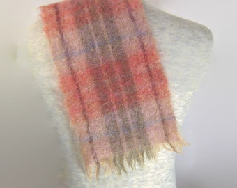 50s Tartan Scarf Pink Gray Scarf Pink Plaid Scarf 1950s Mohair Scarf Pink Gray Tartan Pink Tartan Scarf Made in Scotland Woven Wool Scarf