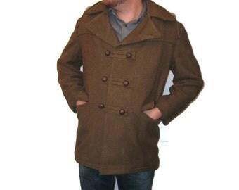 60s Pea Coat Khaki Pea Coat Winter Jacket Khaki Winter Coat 1960s Khaki Jacket Loden Green Coat Removable Hood Hooded Pea Coat Hooded Jacket